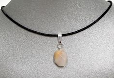Natural Gemstone White Agate Small Pendant Necklace Cord Fengshui Chakra USA #Handmade #Pendant #Healing #Protection #Semiprecious #Stone