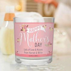 A lovely gift idea for Mother's Day!Personalise this Scented Jar Candle with 2 lines of text up to 30 characters per line. The words 'HAPPY Mother's DAY' are fixed.All personalisation is case sensitive and will appear as entered.Approximately 25 hours burn time.Made from Paraffin wax.Scents may vary.Ideal for Mother's