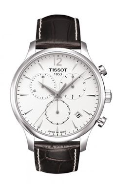 Tissot Tradition Men's Chrono Quartz Silver Dial Watch with Brown Leather Strap TRADIT GTS SS BN LTH SL ARAB IND CHR