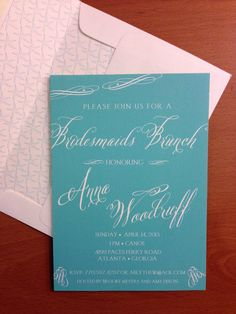 Tiffany Blue bridesmaid luncheon invitation www.moorecustomcreations.com
