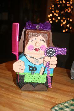 Hairdresser Made by Debra Jasper Painted Bricks Crafts, Brick Crafts, Painted Pavers, Wood Crafts, Diy Crafts, Brick And Stone, Stone Art, Concrete Art, Concrete Blocks