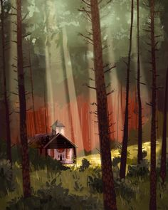Smudges by EmilyWalus on DeviantArt Scenery Background, Animation Background, Environment Concept Art, Environment Design, Illustrations, Illustration Art, Forest Drawing, La Art, Game Concept Art