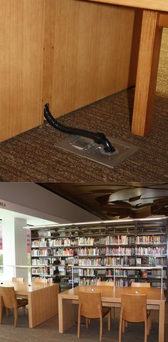 """These photos from West Hollywood Public Library are an excellent example of how wires can be managed to still maintain a sleek look. The 3"""" thick end panel of the table conceals the wires, and they are plugged into an electrical system hidden below the surface."""