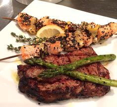 Spiced Lemon Salmon Kebabs and Grilled Rib Eye Steak Surf and Turf