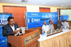 Sashiidharann K CP (Founder and Director of Homz Komforts, Kerala's E-Retail Marketplace) addressing at the Launch Event in Kozhikode