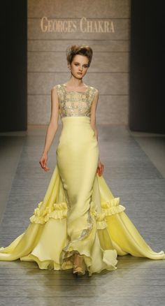 Georges Chakra 2010 Fall Haute Couture Collection Minus the ruffles and the tail Haute Couture Style, Runway Fashion, High Fashion, Yellow Gown, Yellow Fashion, Glamour, Mellow Yellow, Couture Collection, Couture Dresses