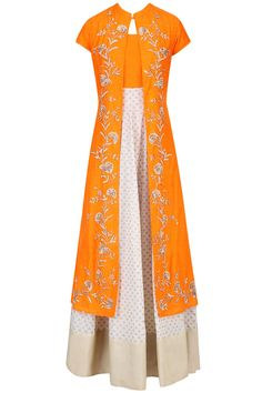 VASAVI SHAH | Off white and light orange printed kurta set with embroidered jacket available only at Pernia's Pop Up Shop.