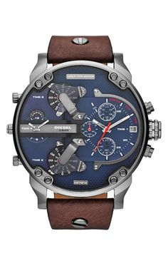 DIESEL®+'Mr.+Daddy+2.0'+Chronograph+Leather+Strap+Watch,+57mm+available+at+#Nordstrom