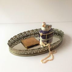 Vintage Filigree Mirror Vanity Tray, Small Oval Dresser Tray, Perfume Jewelry Make-up Organization Storage Tray, Gold Mirrored Tray by AlegriaCollection on Etsy