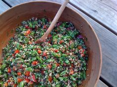 Quinoa tabbouleh: I was so hooked on tabbouleh that I would give this a try.  5/16/13:  It tasted okay, was a but softer in texture than the bulgur wheat version of tabbouleh that I have grown obesessed with.