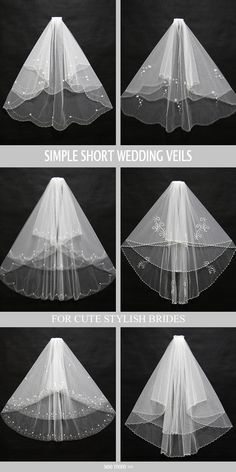 Simple short wedding veils with free shipping