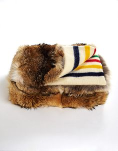 The Bay, Coyote Fur Throw Blanket. Why am I lately so into the classic The Bay colors? Why do I want to combine that with some straight up coyote pelt?