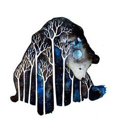 Galaxy bear watercolor.