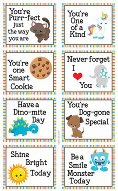 Little kids will love these encouraging lunch box notes!