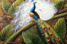 Peacock Pair Blue & White Garden Tree Stretched 24X36 Oil On Canvas Painting Art #Realism