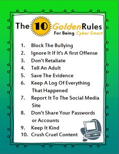 The 10 Golden Rules for Being Cyber Smart--along with a classroom lesson and…