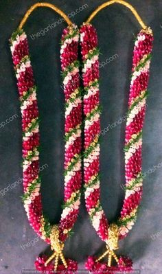 wedding garland- Dual colour rose petal garland wedding garland- Dual colour rose petal garland Visit our website for more garland ideas and make your special occasion even more flower-full. Flower Garland Wedding, Neutral Wedding Flowers, Romantic Wedding Flowers, Cheap Wedding Flowers, Rustic Flowers, Wedding Flower Arrangements, Purple Wedding, Wedding Garlands, Flower Garlands