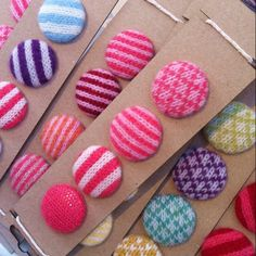 knitted buttons - would be easy to make these covering buttons with old sweaters or socks!