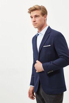 Cortefiel Tailored fit blazer Blue