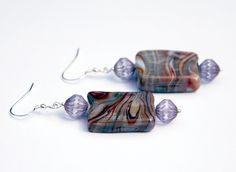 Lampwork glass earrings, swirl glass earring, geometric earrings, fluted czech glass beads, brown earrings, purple earrings, silver earrings by KarmaKittyJewelry on Etsy