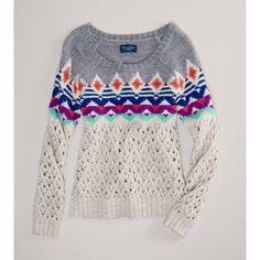 American Eagle Outfitters Ae Fair Isle Open Stitch Sweater (345 CNY) found on Polyvore  fair isle sweaters 费尔岛毛衣 20121226