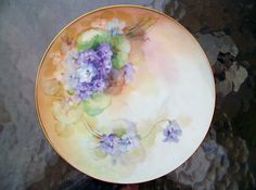 """Professionally Decorated Vintage 1900's Bavaria Hand Painted """"Violets"""" 8-1/4"""" Plate by the Artist, """"H.M."""""""