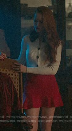 Cheryl's white cardigan with black fur collar on Riverdale Cheryl Blossom Riverdale, Riverdale Cheryl, Cherry Blossom Outfit, Fashion Tv, Fashion Outfits, Cheryl Blossom Aesthetic, Blake Lovely, Beautiful Outfits, Cute Outfits