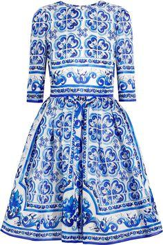 Dolce & Gabbana Printed Silk Majolica Dress. Looks like Dutch Delft tiles.