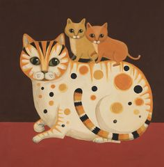 'Cat and Kits' By Painter Catriona Hall. Blank Art Cards By Green Pebble. www.greenpebble.co.uk