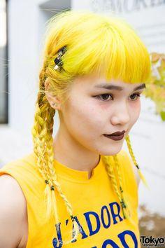 Yellow Braided Hair in Harajuku