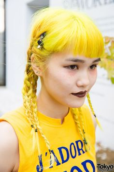 Yellow Braided Hair in Harajuku