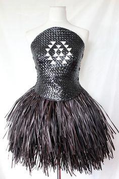 Dress, Tawhiao Polynesian Designs, Maori Designs, Ethnic Fashion, Fashion Art, Fashion Design, Flax Weaving, Recycled Dress, Maori Art, Recycled Fashion