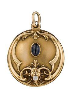 Art Nouveau 14k Gold, Sapphire, and Diamond Gargoyle Locket