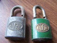 2 VINTAGE Pad Locks - Great for Crafts - Small  steampunk necklace - Elgin - Ilco