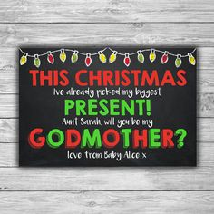 WILL YOU BE MY GODMOTHER CARD / PRINTABLE / GODMOTHER THANK YOU / GODPARENTS / ASKING TO BE GODMOTHER / GODMOTHER REQUEST CARD / CHALKBOARD / XMAS / CHRISTMAS / FESTIVE / HOLIDAYS / GREEN AND RED / FAIRY LIGHTS / SEASONAL