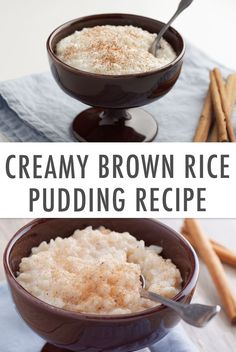 This Creamy Brown Rice Pudding is a delicious treat uses staple ingredients you likely already have on hand and only requires five minutes of your time Talk about a healthy dessert win Rice Desserts, Healthy Desserts, Dessert Recipes, Healthy Recipes, Brown Rice Recipes, Rice Recipes For Dinner, Creamy Rice Pudding, Healthy Rice, Yogurt Cake