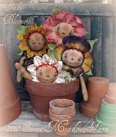 Primitive Doll E PATTERN 4 Raggedy Flower Dolls and Pins PDF via Etsy