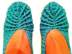 Crochet Slippers Bright Blue 100  Cotton Breathable by KnitBlossom, $15.00