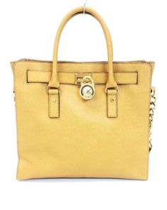 Michael Kors Tan Mustard Brown Saffiano Leather Hamiltion Large Tote