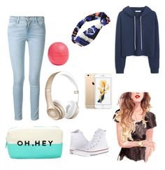 """""""Oh, Hey"""" by sgrsnowyowl ❤ liked on Polyvore featuring Forever 21, MANGO, Frame Denim, Beats by Dr. Dre, Converse and Eos"""