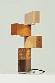 Wooden geometric desk lamp / side lamp. Block Lamp by Thomas Lemut, collection Öst Ouest. 5 solid wood blocks of walnut, oak, ash, beech and sycamore, base in stainless steel and brass. Edition of 18 + 2 prototypes, numbered and signed. http://thomaslemut.com/BLOCK-LAMP.OO.13.html