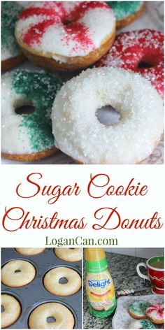 Festive Sugar Cookie Christmas Donuts With the holidays right around the corner, I have been in the baking mood! I decided to bake some delicious and festive sugar cookie Christmas donuts! Christmas Donuts, Christmas Breakfast, Christmas Sweets, Christmas Parties, Christmas Time, Best Christmas Cookies, Christmas Decor, Baked Donut Recipes, Baked Doughnuts