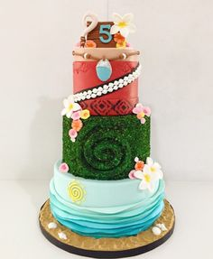 Rum with guava- one of my my most requested flavors. Te Fiti tier inspiration by who has inspired Moana cakes all over the world 🌺 Moana Theme Birthday, Luau Birthday, Baby Girl Birthday, 6th Birthday Parties, Birthday Celebration, Birthday Ideas, Bolo Moana, Moana Party, Summer Cakes