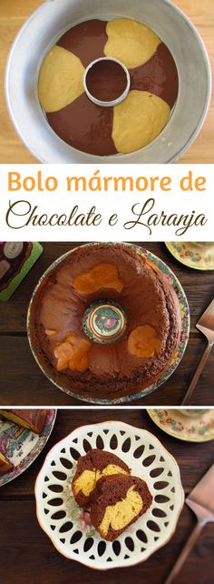 The fusion of the orange and chocolate is always an excellent combination. Prepare this recipe of chocolate orange marble cake and you will not regret! Serve the cake with coffee in a snack among friends… Chocolate Marble Cake, Chocolate Orange, Bolo Chocolate, Vegetarian Chocolate, Chocolate Recipes, Marble Cake Recipes, Pinterest Cake, Chocolate Powder, Feel Good Food