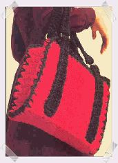 {what if I start with a canvas print and crochet the edges?} Red Tote | Groovy Crochet  - free crochet pattern