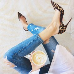 her heels with those jeans!