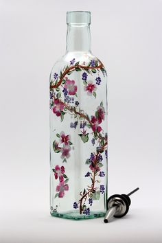 Hand Painted Grapevine and Flowers on Glass Olive Oil Bottle | Patti