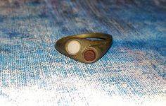 Medieval Bronze Ring with Stone.  Artifact