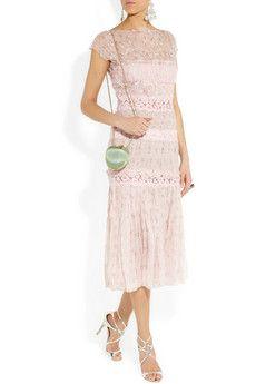 NINA RICCI - Lace-paneled silk-chiffon dress.
