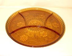 Indiana Tiara Amber Sandwich Glass Divided Relish Plate